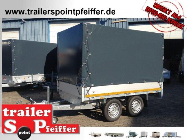 Eduard 2000 KG Hochlader - Gebremste Doppelachser - 2.6x1.5m - Ladehöhe:72 cm - 155R13 - Bordwände 30cm Hochplane SP-Line