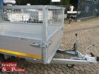 Eduard 1500 KG Rückwärtskipper - Gebremste Einzelachser - 2.6x1.5m - Ladehöhe:63 cm - 195/50R13 - Bordwände 30cm mit Gitteraufsatz