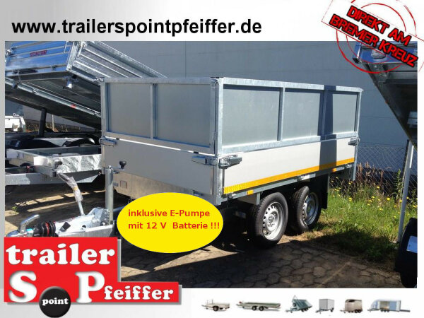 Eduard Rückwärts Kipper - Gebremste Doppelachser - 2.6x1.5m - Ladehöhe:72 cm - 165R13 - Bordwände 30cm - E-Pumpe - Kastenaufsatz