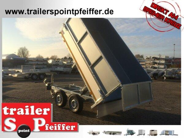 Eduard 2500 KG Rückwärtskipper - Gebremste Doppelachser - 2.6x1.5m - Ladehöhe:72 cm - 165R13 - Bordwände 30cm Kastenaufsatz