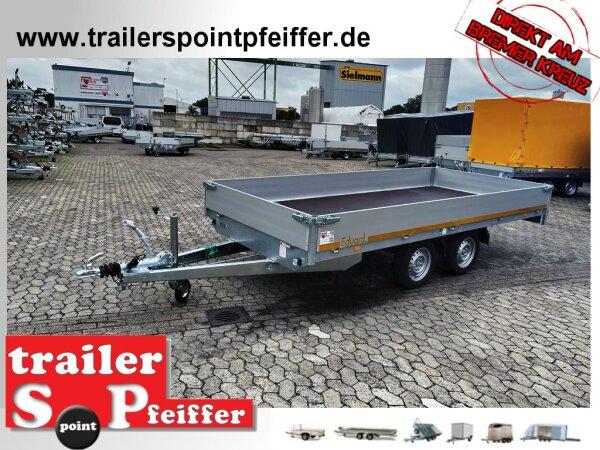 Eduard 2000 KG Hochlader - Gebremste Doppelachser - 4.0x1.8m - Ladehöhe:72 cm - 155R13 - Bordwände 30cm