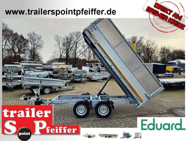 Eduard 2000 KG Rückwärtskipper - Gebremste Doppelachser - 3.1x1.6m - Ladehöhe:72 cm - 155R13 - Bordwände 30cm - Kastenaufsatz 60 cm