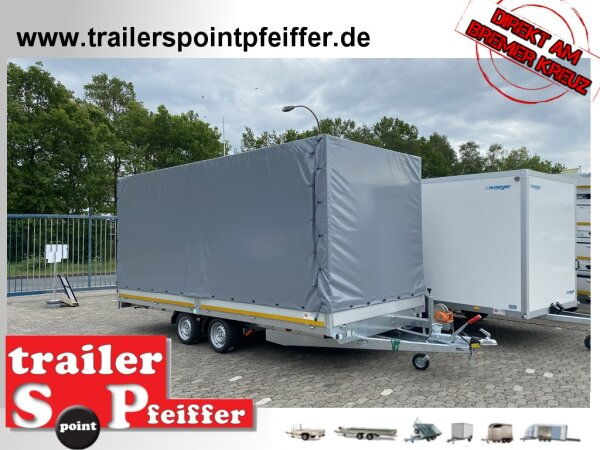 Eduard 3500 KG Multitransporter - Gebremste Doppelachser - 5.0x2.2 - Ladehöhe: 63 cm - 195/50R13 - Auffahrtschienen & Winde - Hochplane SP-Line