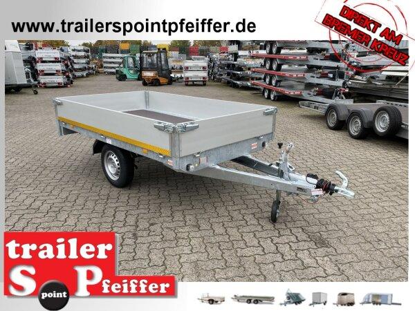 Eduard 1000 KG Hochlader - Gebremste Einzelachser - 2.6x1.5m - Ladehöhe:72 cm - 155R13 - Bordwände 30cm