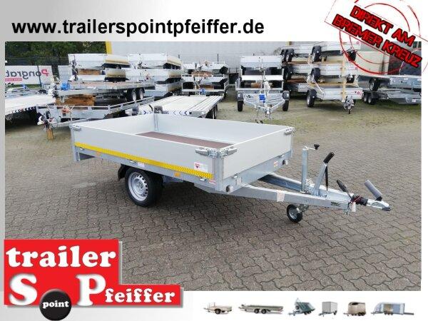 Eduard 1500 KG Hochlader - Gebremste Einzelachser - 2.6x1.5m - Ladehöhe:63 cm - 195/50R13 - Bordwände 30cm