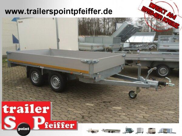 Eduard 2700 KG Hochlader - Gebremste Doppelachser - 3.1x1.6m - Ladehöhe:72 cm - 185/70R13 - Bordwände 30cm