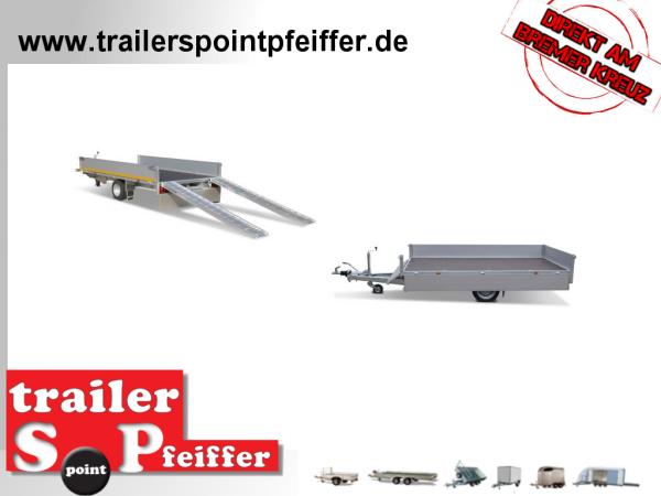 Eduard 1500 KG Gebremste Einzelachser - 3.3x1.8m - Ladehöhe:56 cm - 195/55R10 - Auffahrschienen - Bordwände 30 cm