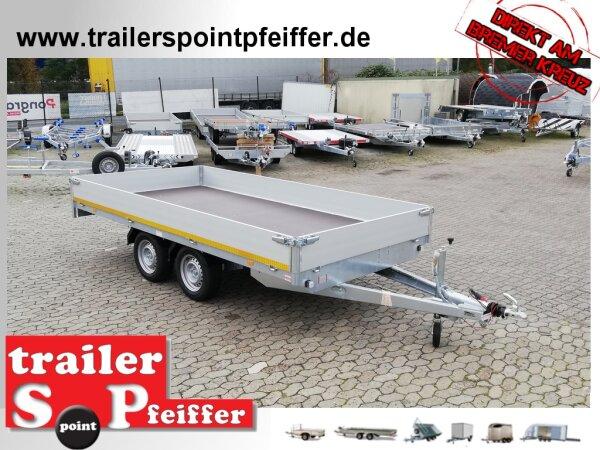 Eduard 2000 KG Hochlader - Gebremste Doppelachser - 4.0x2.0m - Ladehöhe:72 cm - 165R13 - Bordwände 30cm