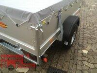 Böckmann TL-AL 2111/75 ALU Tieflader Anhänger erhöhte Bordwand Flachplane montiert