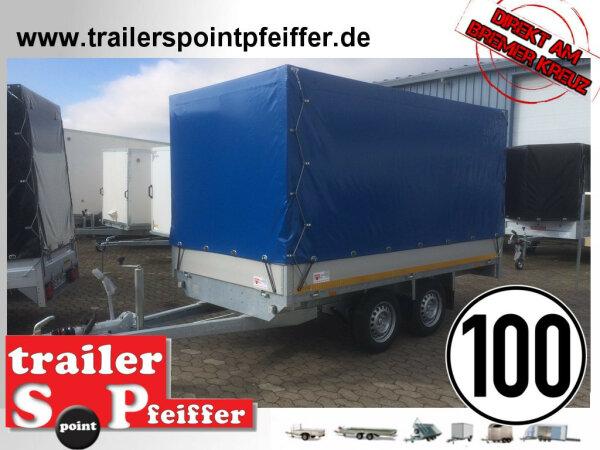 Eduard 2000 KG Hochlader - Gebremster Doppelachser - 3.1x1.6m - Ladehöhe:72 cm - 155R13 - Bordwände 30cm mit Plane SP-Line - 100 KM/H
