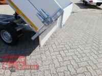 Eduard 2000 KG Rückwärtskipper - Gebremster Doppelachser - 2.6x1.5m - Ladehöhe:72 cm - 155R13 mit ALU Aufsatzwänden
