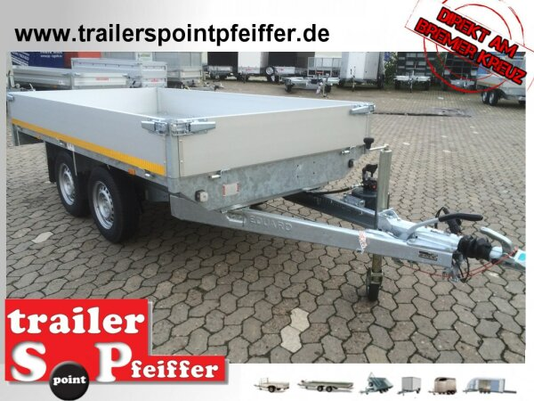 Eduard 2000 KG Heckkipper - Gebremster Doppelachser - 3.1x1.6m - Ladehöhe:72 cm - 155R13 - Bordwände 30cm