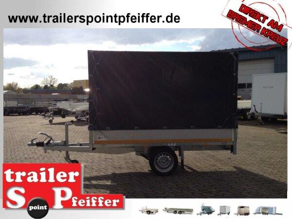 Eduard 1350 KG Hochlader - Gebremste Einzelachser - 2.6x1.5m - Ladehöhe:63 cm - 195/50R13 - Bordwände 30cm Hochplane SP-Line