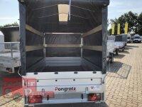 Pongratz LPA 250/13 U - Anhänger ungebremst mit ÖKO Schräge und Rollo in Plane - Stützrad