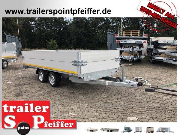Eduard 2700 KG Hochlader - Gebremste Doppelachser - 4.0x1.8m - Ladehöhe:63 cm - 195/50R13 - Doppelte Bordwand