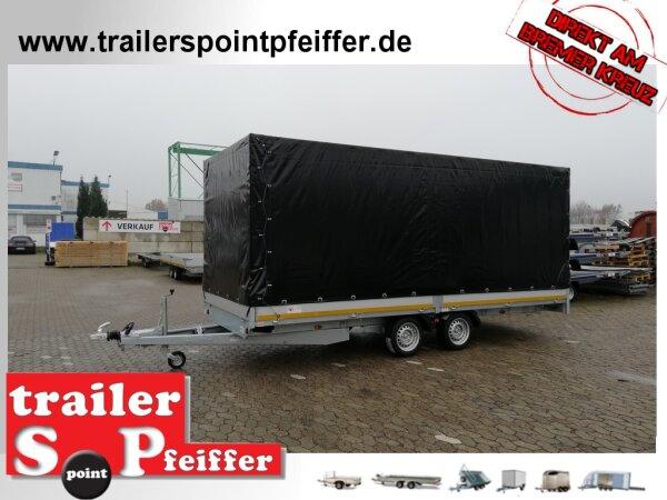Eduard 3000 KG Multitransporter mit Rampen - Gebremste Doppelachser - 5.0x2.0m - Ladehöhe:63 cm - 195/50R13 - Bordwände 30cm mit Hochplane SP-Line