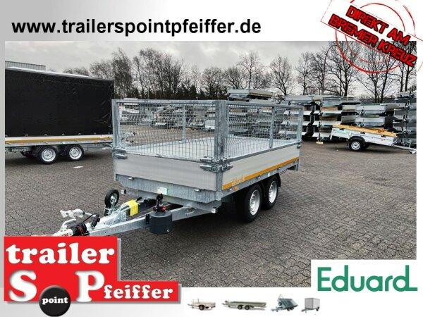 Eduard 2700 KG Heckkipper - Gebremste Doppelachser - 3.1x1.6m - Ladehöhe:72 cm - 185/70R13 - Bordwände 30cm Laubgitter 70 cm