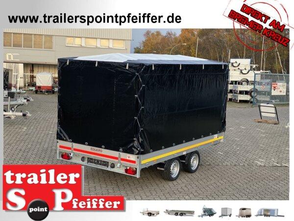 Eduard 2700 KG Multitransporter - Gebremste Doppelachser - 3.56x2.0m - Ladehöhe:63 cm - 195/50R13 - Auffahrschienen - Bordwände 30cm mit Hochplane SP Line
