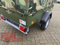 """TPV TL-EU2 Bronzegrün Anhänger mit Hochplane Spitzdach  """" BOYS ON THE ROAD ( camouflage ) """" AKTION für echte Kerle !"""
