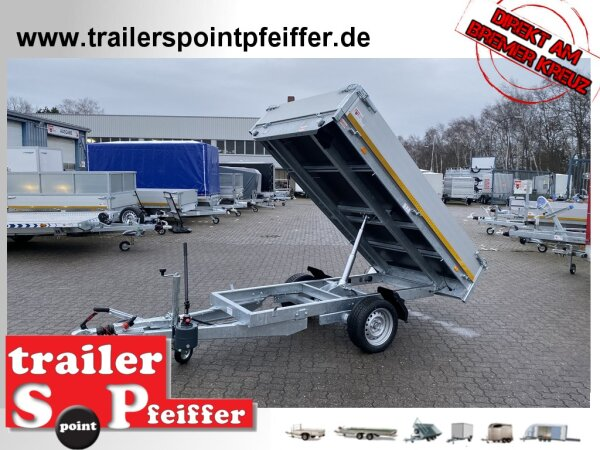 Eduard 1350 KG Heck Kipper - Gebremste Einzelachser - 2.6x1.5m - Ladehöhe:63 cm - 195/50R13 - Bordwände 30cm