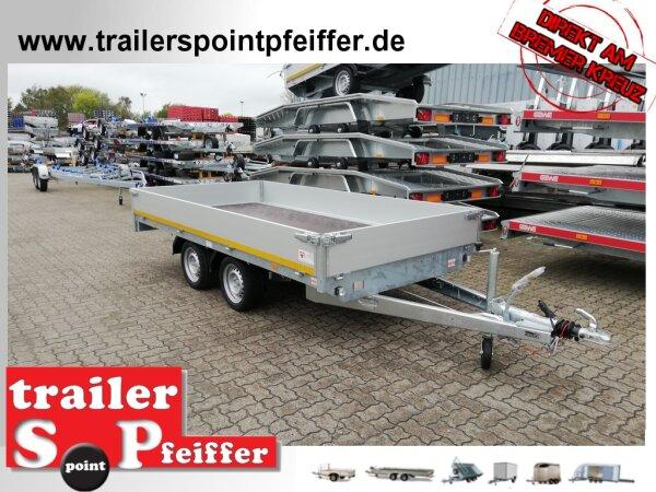 Eduard 2000 KG Hochlader - Gebremste Doppelachser - 3.56x1.8m - Ladehöhe:63 cm - 195/50R13 - Bordwände 30cm