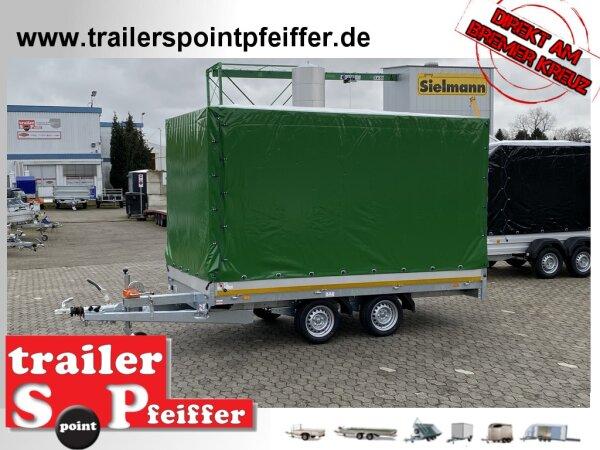 Eduard 2700 KG Multitransporter 356 x 180 - 2.700 kg - 63 cm Ladekante - Rampen und Winde mit Hochplane SP-Line