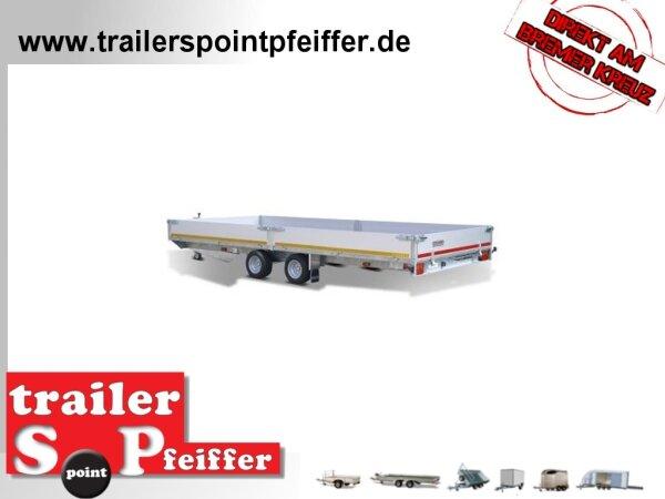 Eduard 3000 KG Multitransporter - Gebremste Doppelachser - 4.56x2.2m - Ladehöhe:56 cm - 195/55R10 - Auffahrschienen & Winde - Bordwände 30cm