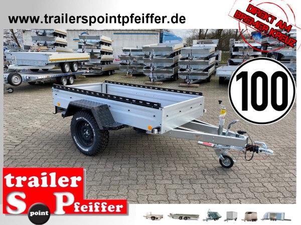 """TPV TL-EB3 Offroad - 1300 kg gebremst Kastenanhänger mit 15"""" Geländebereifung und Reling"""