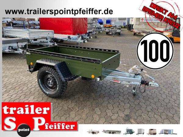 """TPV TL-EB2 bronze Offroad - 1000 kg gebremst Kastenanhänger mit 15"""" Geländebereifung und Reling"""