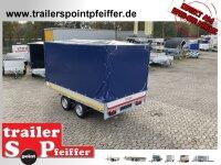 Eduard 2500 KG Hochlader - Gebremste Doppelachser - 3.3x1.8m - Ladehöhe:72 cm -  Bordwände 30cm mit Hochplane SP-Line