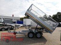 Eduard 2500 KG Heckkipper - Gebremste Doppelachser - 3.1x1.6m - Ladehöhe:72 cm - 165R13 - Bordwände 30cm Laubgitter 70 cm