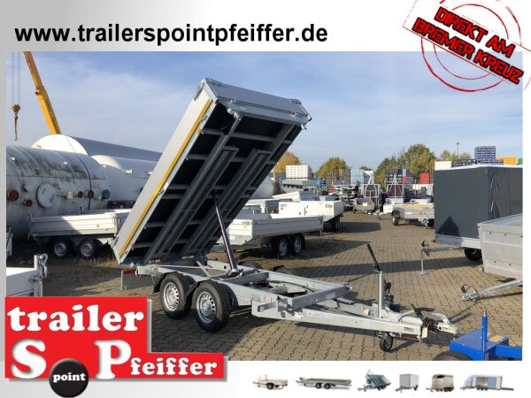 Eduard 2700 KG Rückwärtskipper - Gebremster Doppelachser - 3.1x1.8m - Ladehöhe:72 cm - 185/70R13 - Bordwände 30cm - Auffahrschienen - Schwerlaststützen