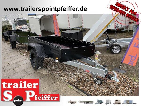 """TPV TL-EB3 Offroad - 1300 kg gebremst Kastenanhänger mit 15"""" Geländebereifung und Reling - SCHWARZ"""