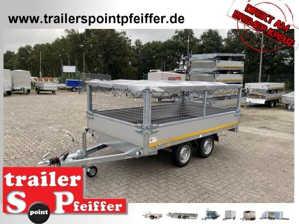 Eduard 2000 KG Hochlader - Gebremste Doppelachser - 3.3x1.8m - Ladehöhe:72 cm  - Bordwände 30cm mit Laubgitter 70 cm und Flachplane