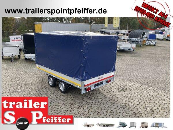 Eduard 2000 KG Hochlader - Gebremste Doppelachser - 3.5x1.8m - Ladehöhe:72 cm -  Bordwände 30cm mit Hochplane SP-Line