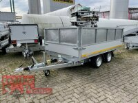 Eduard 3000 KG - 3 Seitenkipper -  Gebremster Doppelachser - 3.3x1.8m - Ladehöhe:63 cm - 195/50R13C - Stahl-Kastenaufsatz - Auffahrrampen - Stützen