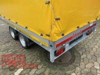 Eduard 2000 KG Hochlader - Gebremste Doppelachser - 3.3x1.8m - Ladehöhe:63 cm - 195/50R13 -  Bordwände 30cm mit Hochplane SP-Line