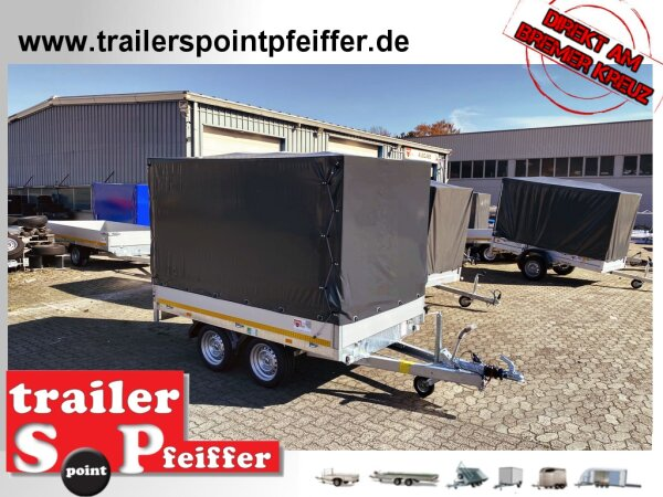 Eduard 2000 KG Hochlader - Gebremste Doppelachser - 2.6x1.5m - Ladehöhe:63 cm - 195/50R13 - Bordwände 30cm Hochplane SP-Line