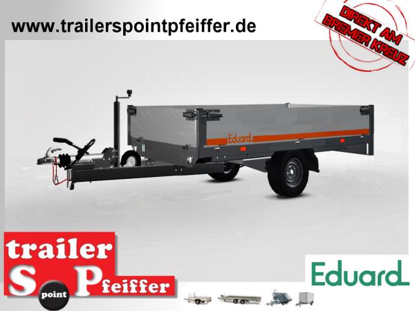 Eduard 1500 KG Hochlader - Gebremste Einzelachser - 2.6x1.5m - Ladehöhe:56 cm - 195/55R10 - Bordwände 30cm