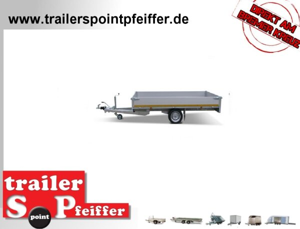 Eduard 1000 KG Hochlader - Gebremste Einzelachser - 3.1x1.6m - Ladehöhe:63 cm - 195/50R13 - Bordwände 30cm