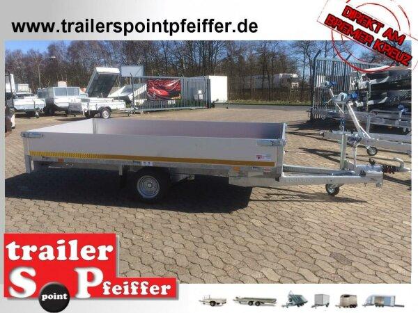 Eduard 1500 KG Hochlader - Gebremste Einzelachser - 3.1x1.6m - Ladehöhe:56 cm - 195/55R10 - Bordwände 30cm